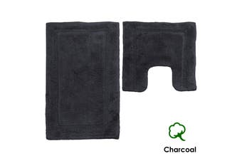 Set of 2 1800GSM Contour Bath Mat Set Charcoal