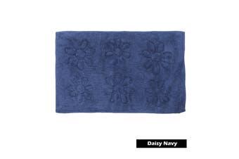 Daisy 100% Cotton Bath Mat Navy