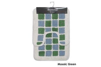 2 Pce Mosaic 100% Cotton Bath Mat Set Green