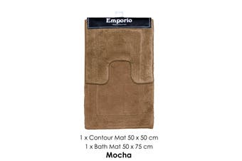 2 Pce Race Track 100% Cotton Bath Mat Set Mocha