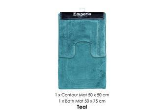 2 Pce Race Track 100% Cotton Bath Mat Set Teal