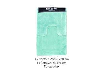 2 Pce Race Track 100% Cotton Bath Mat Set Turquoise