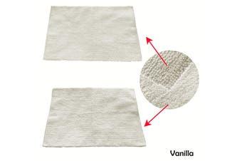 1 Piece of Reversible Cotton Bath Mat 55 x 85cm Vanilla