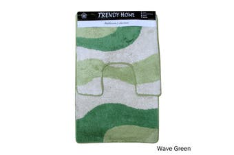 2 Pce Wave 100% Cotton Bath Mat & Contour Set Green