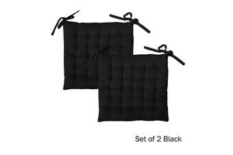 Set of 2 Cotton Square Chair Pads Black