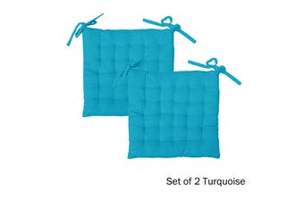 Set of 2 Cotton Square Chair Pads Turquoise