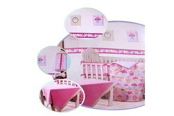10 Pce Pink Baby Crib Set
