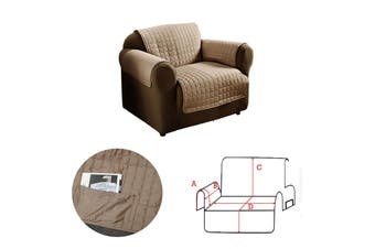 1 Seater Sofa Protector with Side Pockets Mocha