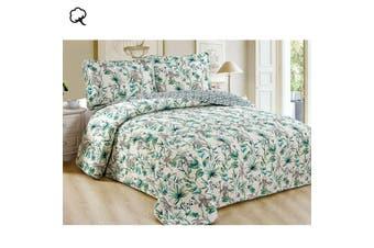 100% Cotton Coverlet Set Bontanical Leaves Queen