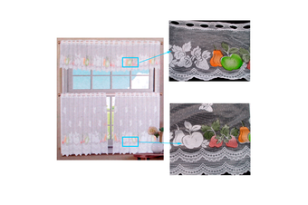 3 Pce Cafe Orchy Lace Curtain Set