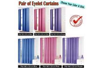 Pair of Easy Care Eyelet Curtains Blue 180 x 221 cm