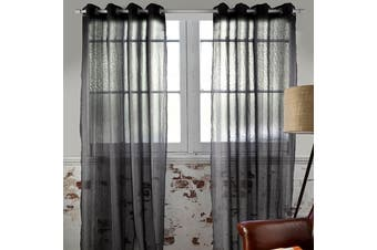 Pair of Black Eyelet Sheer Curtains