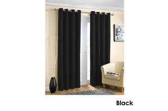 Pair of Blockout Plain Eyelet Curtains Black