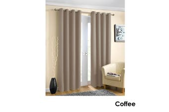 Pair of Blockout Plain Eyelet Curtains Coffee