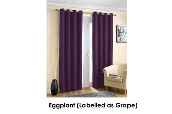 Pair of Blockout Plain Eyelet Curtains Eggplant (Labelled as Grape)
