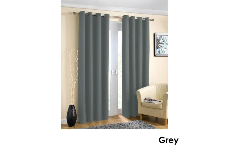 Pair of Blockout Plain Eyelet Curtains Grey