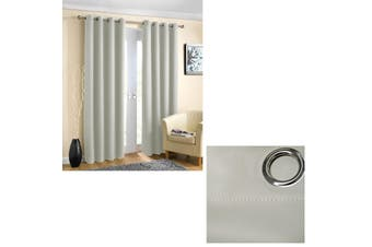 Pair of Blockout Plain Eyelet Curtains Silver