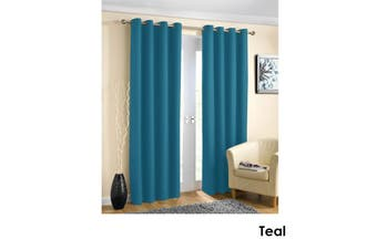 Pair of Blockout Plain Eyelet Curtains Teal