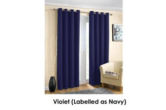 Pair of Blockout Plain Eyelet Curtains Violet (Labelled as Navy)