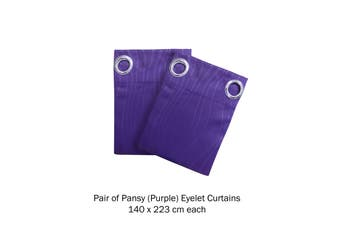 Pair of Blockout Embossed Eyelet Wave Curtains Pansy (Purple)