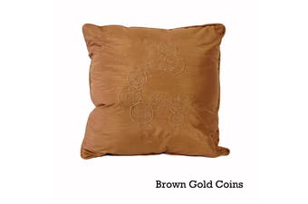 Silk Road 45x45 cm Filled Square Cushion Brown Gold Coins