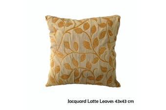 Jacquard Latte Leaves 43x43 cm Square Cushion
