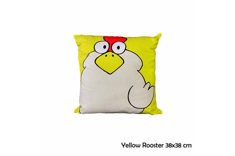 Yellow Rooster 38x38 cm Square Cushion by Happy Kids