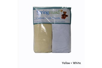 2 Piece of Baby Cot Cotton Fitted Sheet Yellow & White