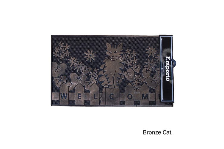 Rubber Door Mat Bronze Cats