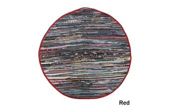 Cotton Chindi Round Mat Red