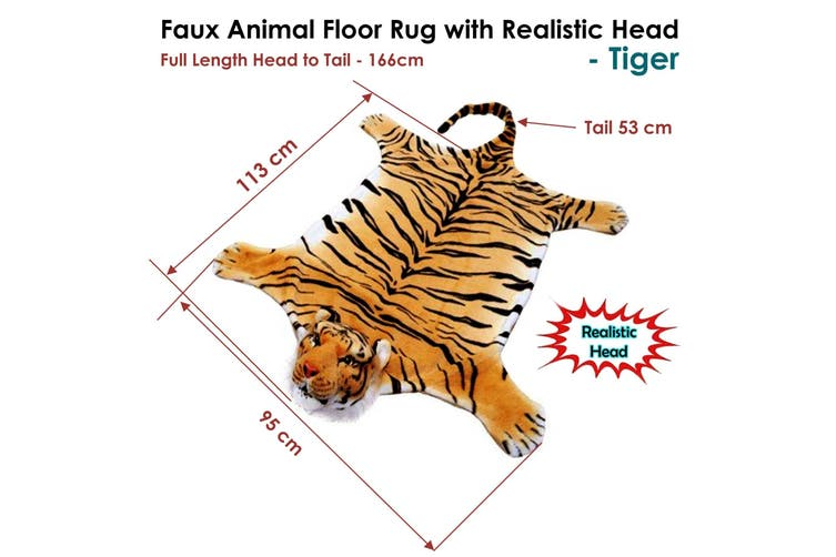 Faux Animal Floor Rug with Realistic Head Wild Tiger