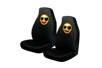 Pair of Emoji Car Front Seat Covers Sunglasses Faces
