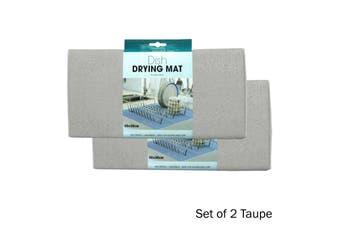 Set of 2 Microfibre Dish Drying Mats Taupe