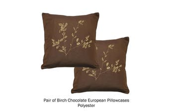 Pair of Floral European Pillowcases Birch