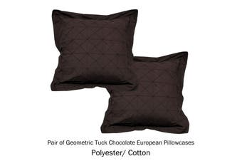 Pair of Tailored European Pillowcases Geometric Tuck Chocolate