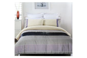 Brie Lilac Grey Quilt Cover Set QUEEN