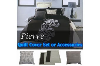 Pierre Black Grey Quilt Cover Set KING
