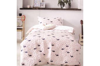 Swan Blush Quilt Cover Set Single