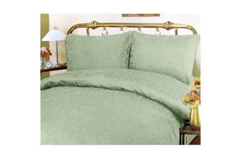 Luxurious Jacquard Quilt Cover Set Queen + Bonus Valance Sage