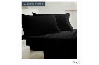 250tc Polyester Cotton Sheet Set Black King Single