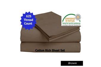 625TC Cotton Rich Sheet Set Brown King