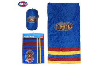 AFL Brisbane Lions Camping Sleeping Bag and Rubber Back Floor Mat
