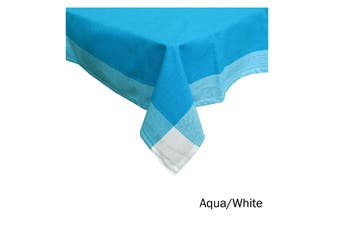 Emporio Border Cotton Table Cloth Aqua White 150 x 230 cm