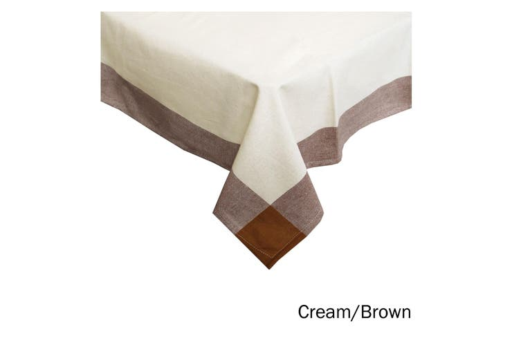 Emporio Border Cotton Table Cloth Cream Brown 150 x 230 cm