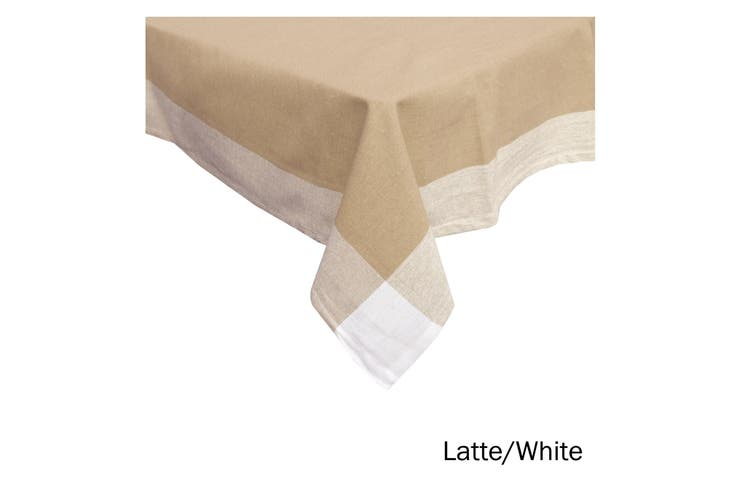 Emporio Border Cotton Table Cloth Latte White 150 x 230 cm