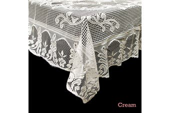 Daisy Lace Polyester Tablecloth Cream 130 x 178 cm