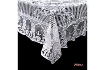 Daisy Lace Polyester Tablecloth White 180 cm Round