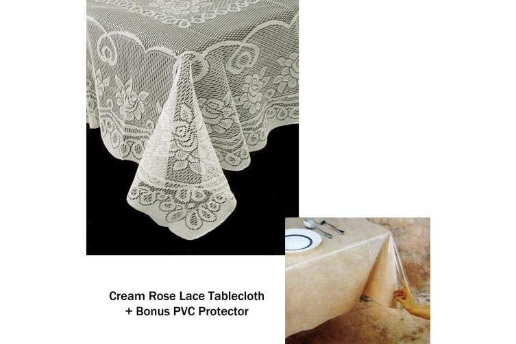 Rose Lace Polyester Tablecloth Cream 130 x 178 cm