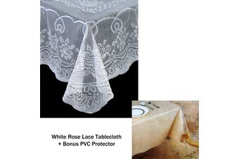 Rose Lace Polyester Tablecloth White 130 x 178 cm