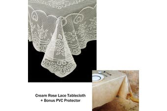 Rose Lace Polyester Tablecloth Cream 130 x 228 cm